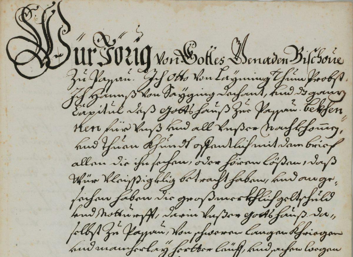 Abschrift des Kaufbriefs über die Herrschaft Mattsee