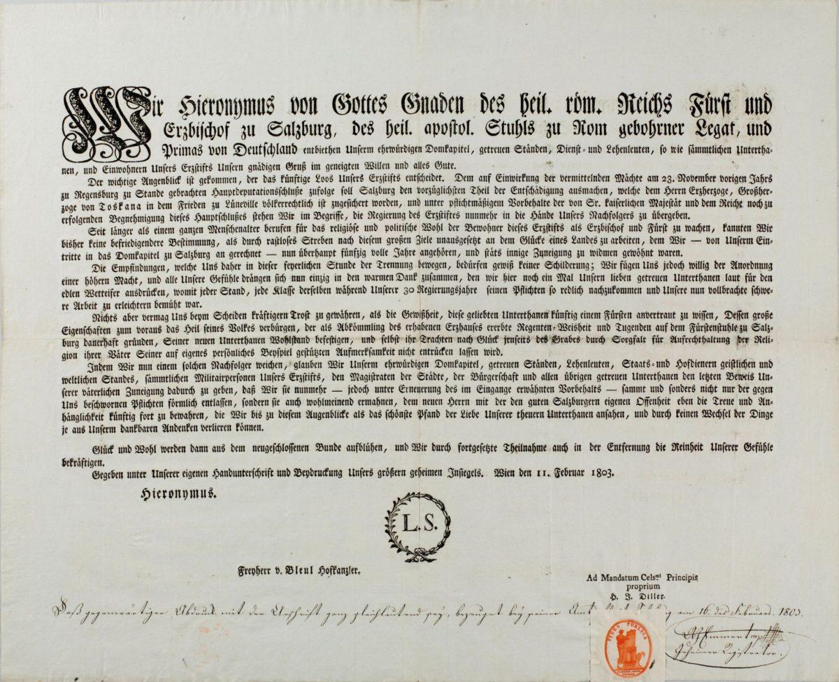 Abdankungserklärung des Fürsterzbischofs Hieronymus Graf Colloredo