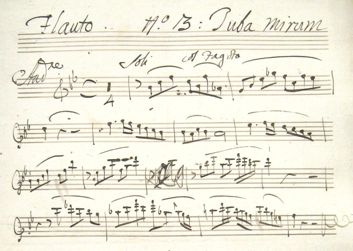 W. A. Mozart: Requiem KV 626, Flötenstimme (Detail)
