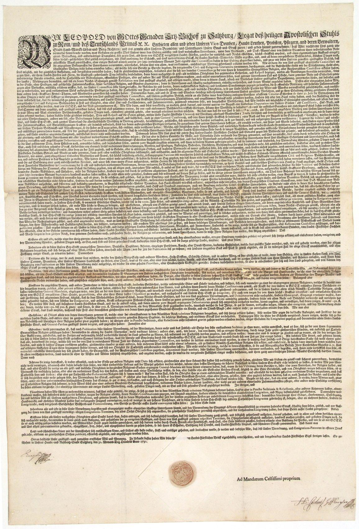 Emigrationspatent vom 31. Oktober 1731