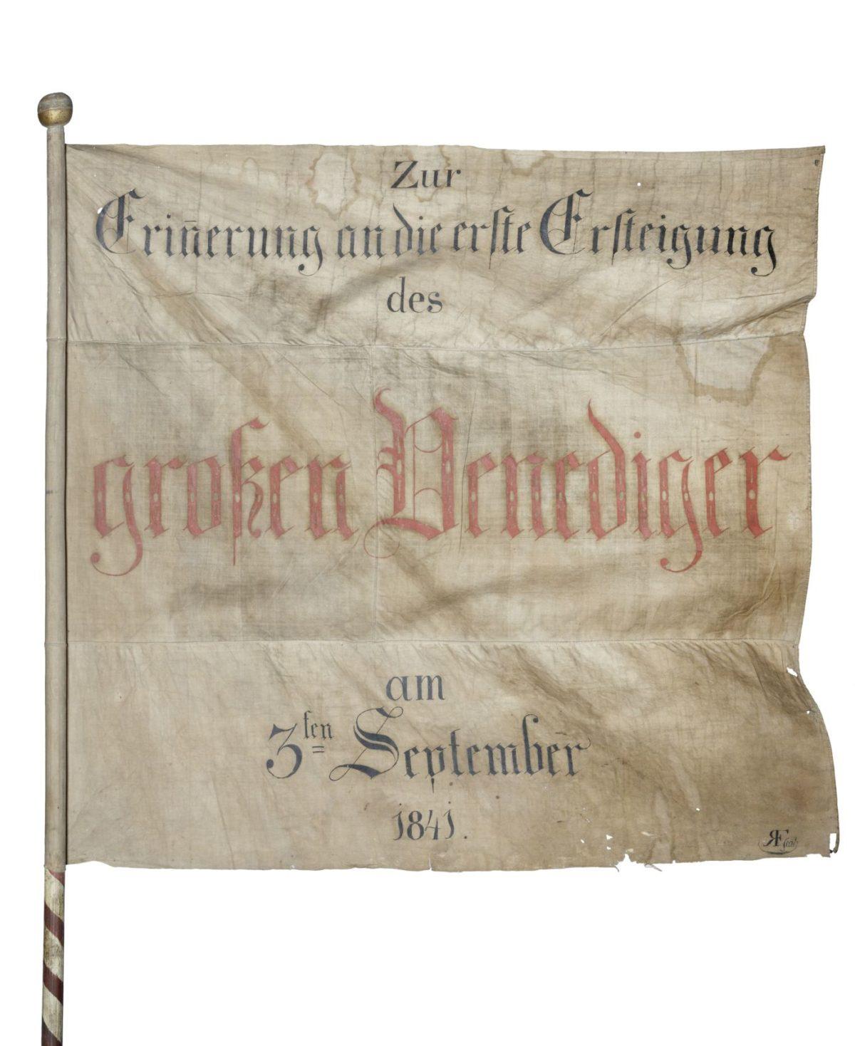 Fahne der Erstbesteigung des Großvenedigers am 3. September 1841