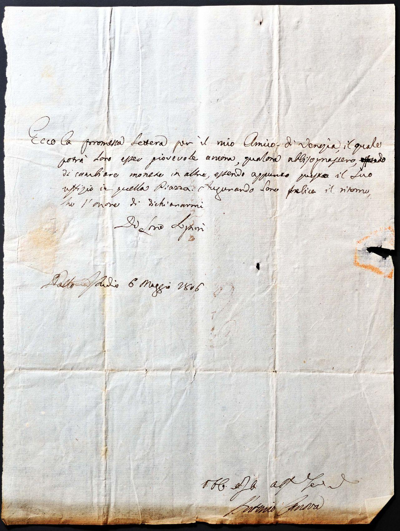 Empfehlungsschreiben von Antonio Canova – Salzburg Geschichte Kultur