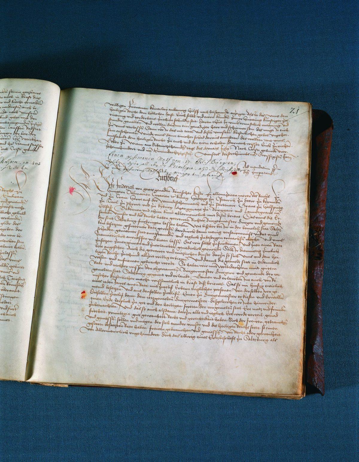 Großer Ratsbrief, Abschrift im Privilegienbuch der Stadt Salzburg
