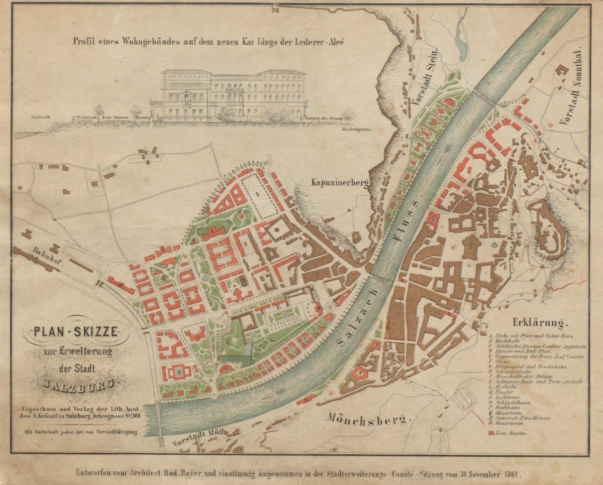 Plan-Skizze zur Erweiterung der Stadt Salzburg