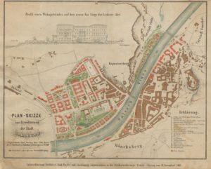 Plan-Skizze zur Erweiterung der Stadt Salzburg © Stadtarchiv Salzburg