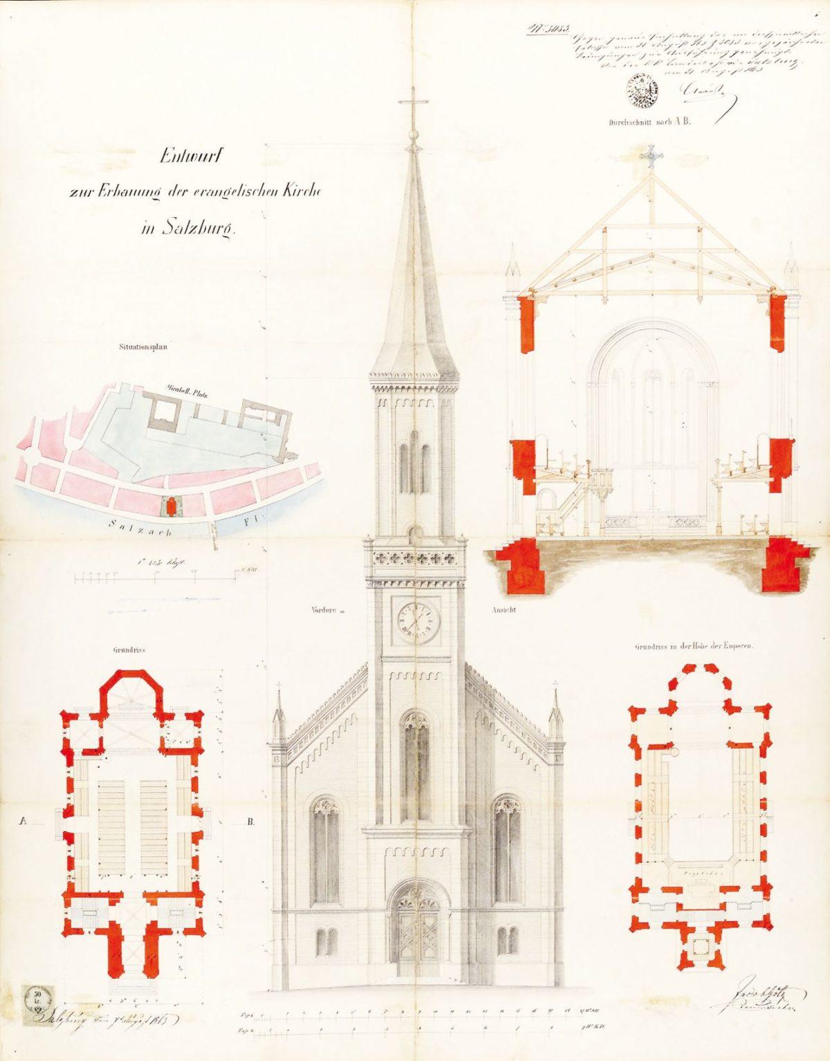 Plan für die Erbauung einer evangelischen Kirche