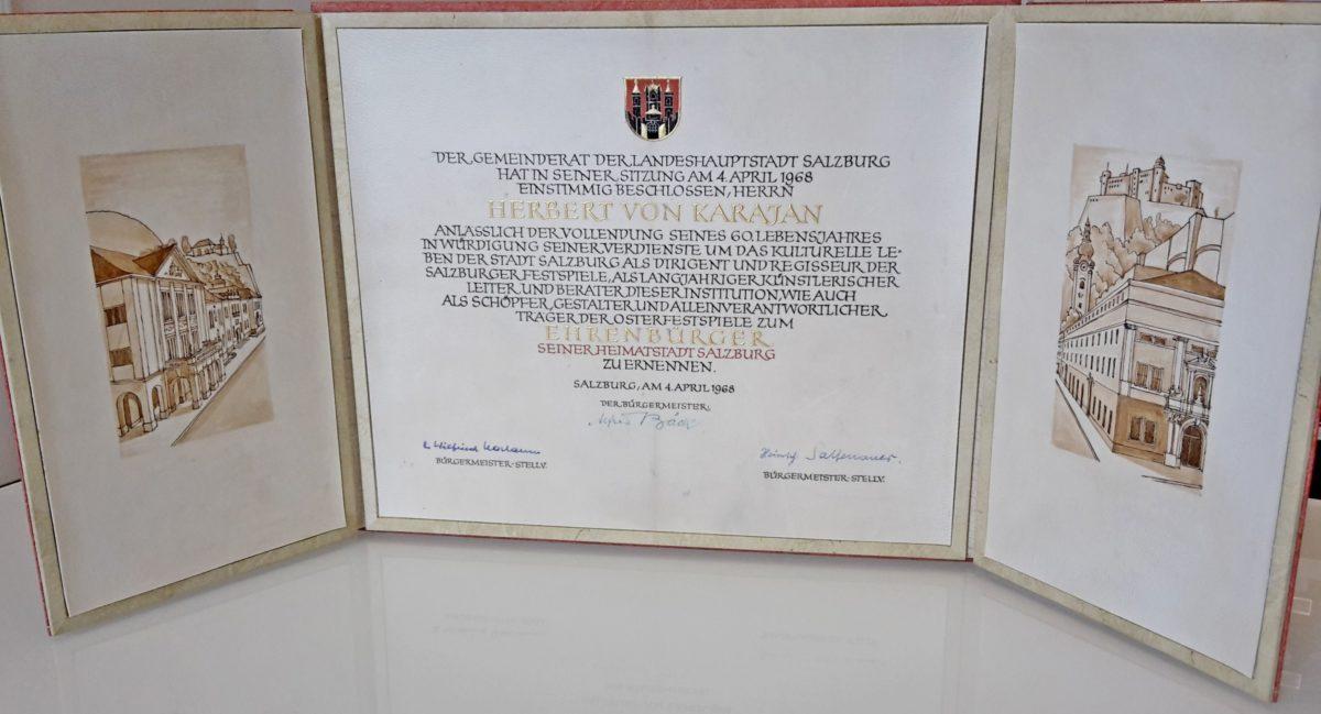 Ehrenbürgerschaftsurkunde Herbert von Karajans