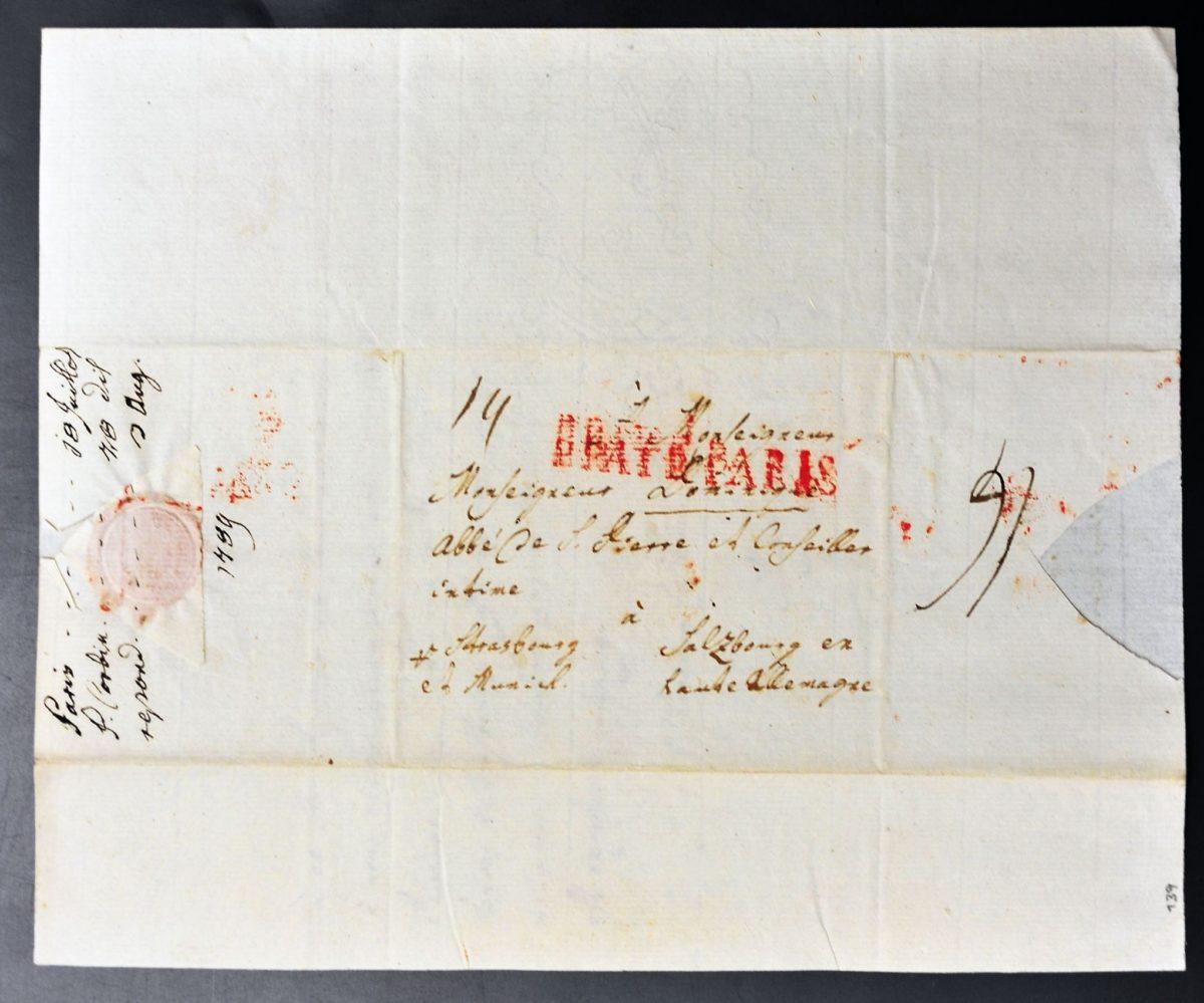 Brief aus Paris an Abt Dominikus Hagenauer von St. Peter