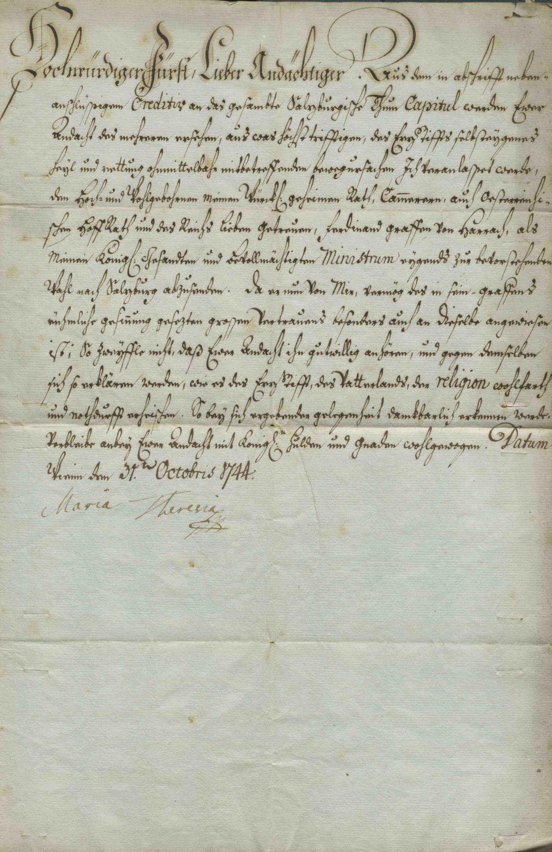 Brief Maria Theresias an den Salzburger Domherrn Vigil August von Firmian