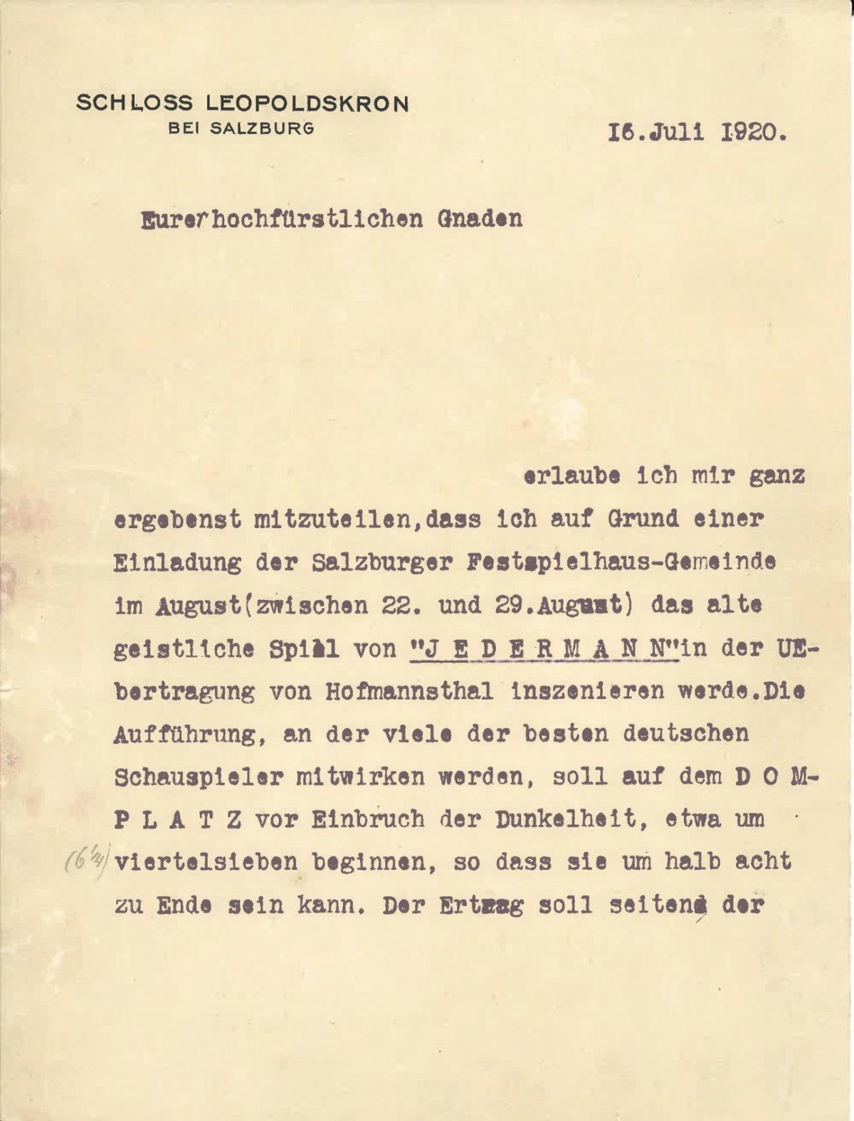 Brief Max Reinhardts an Fürsterzbischof Ignaz Rieder